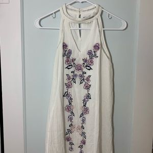 White Floral Embroidered Dress!